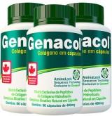 Colágeno Hidrolisado - Genacol - 90 cápsulas - Kit 3 unidades